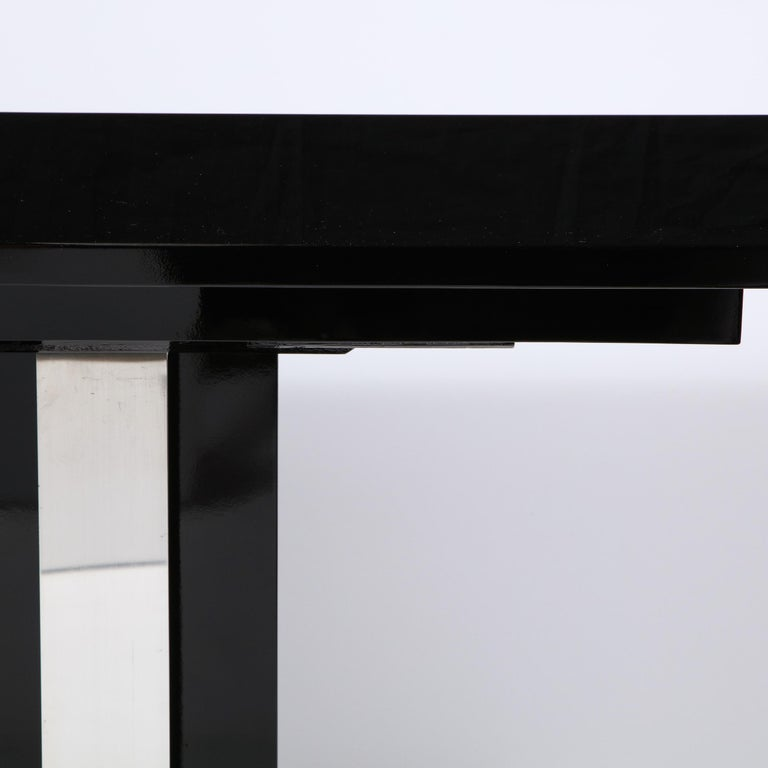 American Pair of Art Deco Skyscraper Style Streamlined Lacquer & Chrome Console Tables For Sale