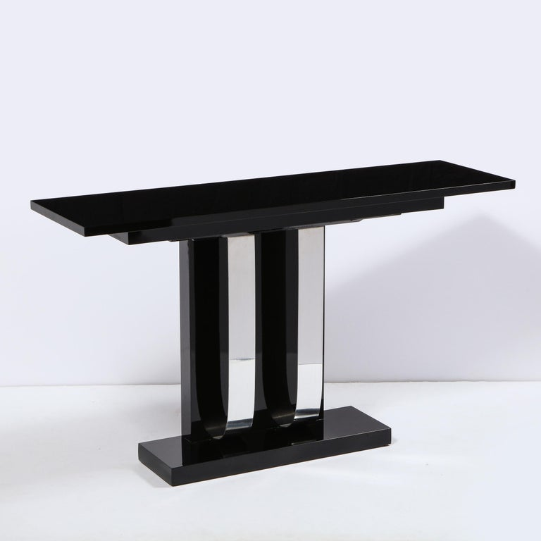 Pair of Art Deco Skyscraper Style Streamlined Lacquer & Chrome Console Tables In Excellent Condition For Sale In New York, NY