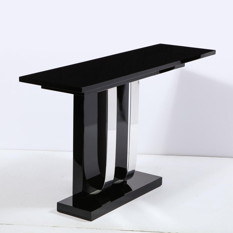 Mid-20th Century Pair of Art Deco Skyscraper Style Streamlined Lacquer & Chrome Console Tables For Sale
