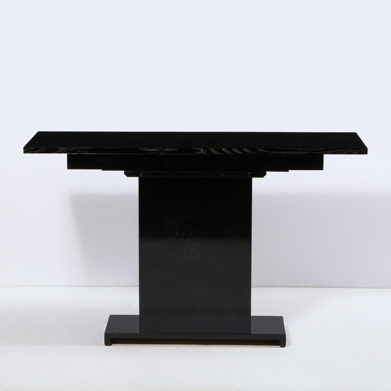 Pair of Art Deco Skyscraper Style Streamlined Lacquer & Chrome Console Tables For Sale 2
