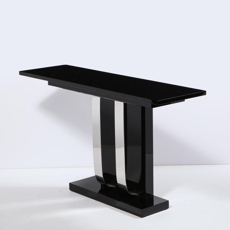 Pair of Art Deco Skyscraper Style Streamlined Lacquer & Chrome Console Tables For Sale 3