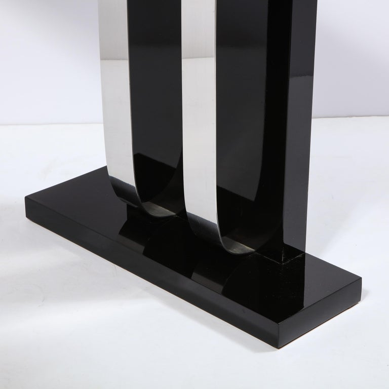 Pair of Art Deco Skyscraper Style Streamlined Lacquer & Chrome Console Tables For Sale 4