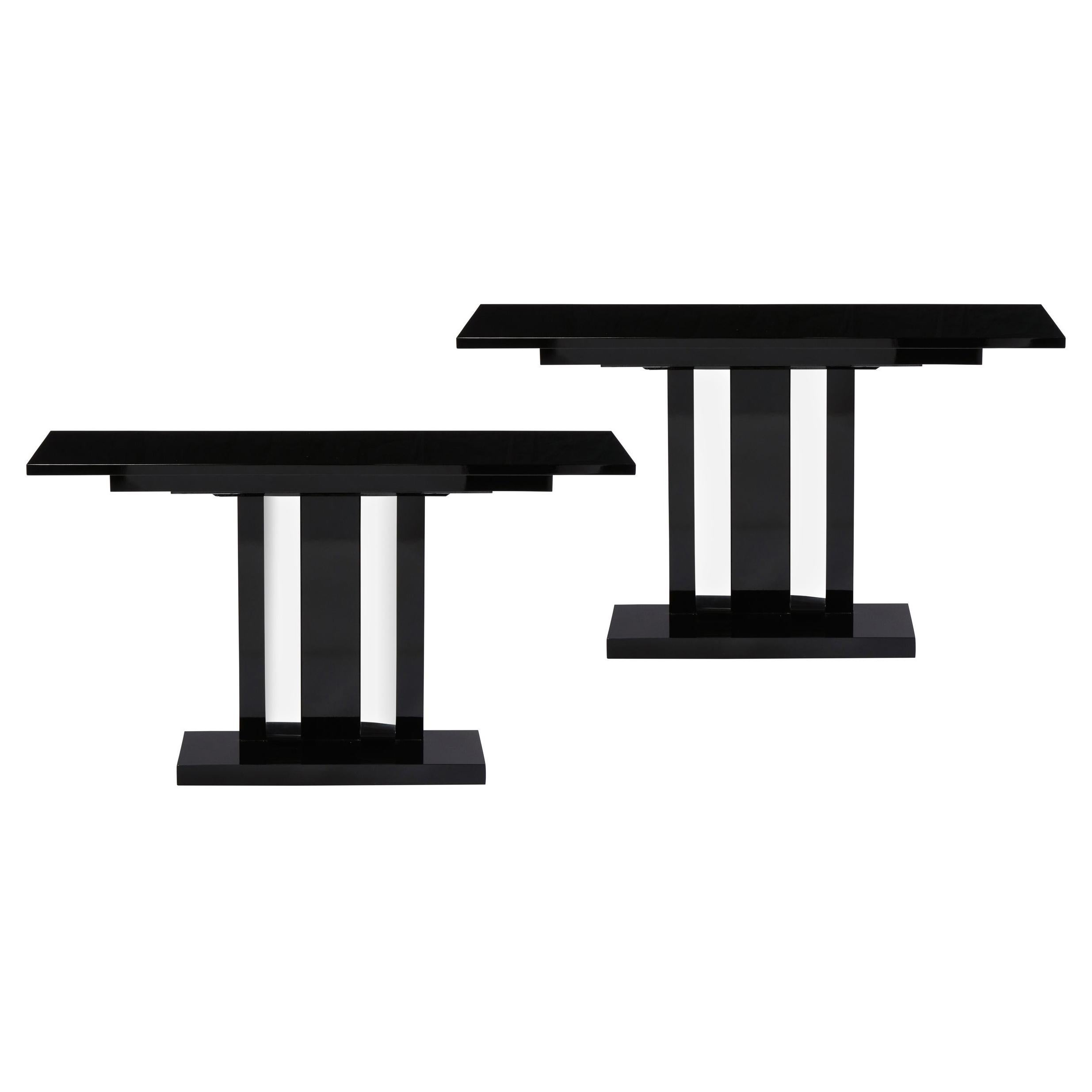 Pair of Art Deco Skyscraper Style Streamlined Lacquer & Chrome Console Tables
