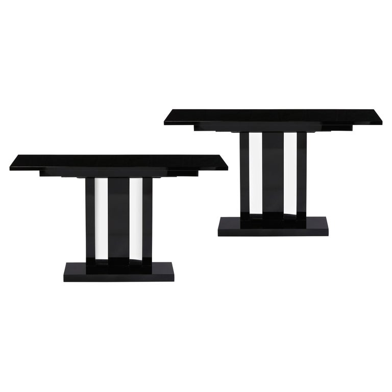 Pair of Art Deco Skyscraper Style Streamlined Lacquer & Chrome Console Tables For Sale