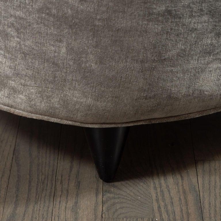 Ebonized Pair of Art Deco Slipper Chairs Smoked Platinum Velvet by Gilbert Rohde For Sale