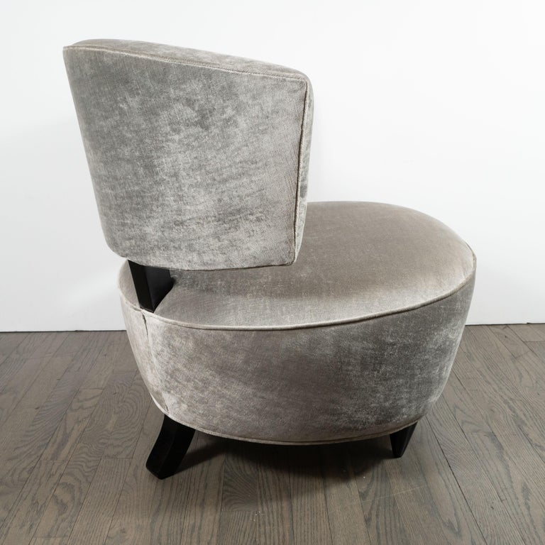 Pair of Art Deco Slipper Chairs Smoked Platinum Velvet by Gilbert Rohde In Excellent Condition For Sale In New York, NY