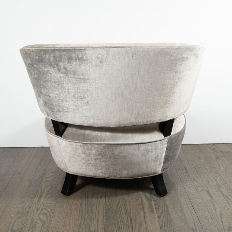 Mid-20th Century Pair of Art Deco Slipper Chairs Smoked Platinum Velvet by Gilbert Rohde For Sale