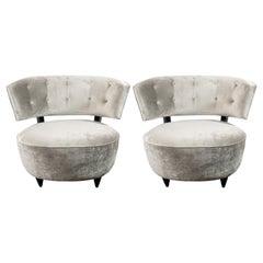Pair of Art Deco Slipper Chairs Smoked Platinum Velvet by Gilbert Rohde
