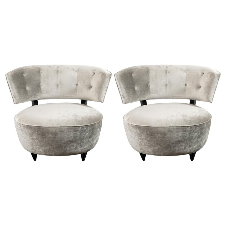 Pair of Art Deco Slipper Chairs Smoked Platinum Velvet by Gilbert Rohde For Sale