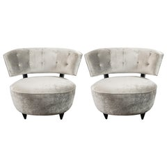 Pair of Art Deco Slipper Chairs Smoked Platinum Velvet by Gilbert Rohde