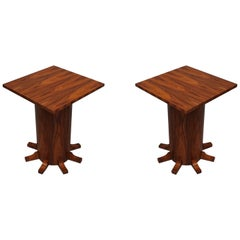 Pair of Art Deco Square Walnut Wood Side Tables, 1920