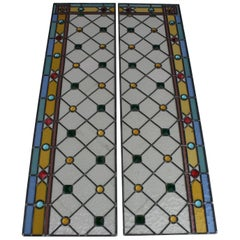 Pair of Art Deco Italian Stained Glass Panels,1935 circa.