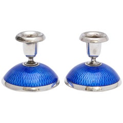 Pair of Art Deco Sterling Silver and Dark Blue Guilloche Enamel Candlesticks