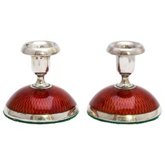 Pair of Art Deco Sterling Silver and Deep Reddish-Orange Enamel Candlesticks