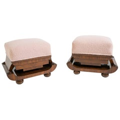 Pair of Art Deco Stools in Walnut Briar and Pink Bouclè