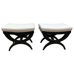 Pair of Art Deco Stools / Tabourets, Black Lacquer, France, circa 1940