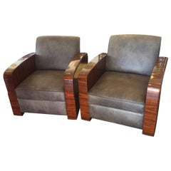Pair of Art Deco Style Amboyna Armchairs Chairs