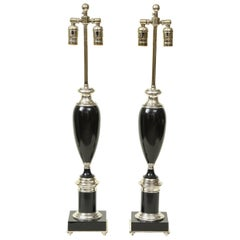 Pair of Art Deco Style Black and Chrome Urn Table Lamps