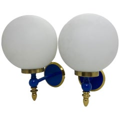 Pair of Art Deco Style Blue Lacquered Brass and Milk Glass Sconces, Germany