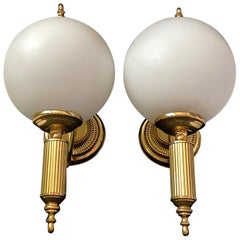 Pair of Art Deco Style Brass and Milk Glass Sconces Sölken Leuchten, Germany