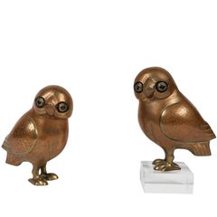 Pair of Art Deco Style Brass Owls