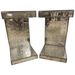 Pair of Art Deco Style Bulls-Eye Mirrored Lamp, Side Tables or Pedestals