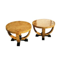 Pair of Art Deco Style Burl Tables