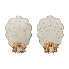 Pair of Art Deco Style Candle Sconces with Shell-Shapes & Flirty Bubble Mirrors