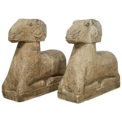 Pair of Art Deco Style Carved Sandstone Reclining Rams, 20th Century