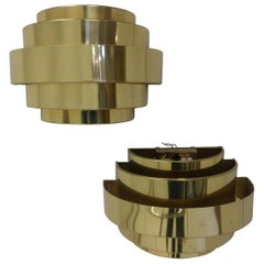 Pair of Art Deco Style Cascading Brass Tiered Sconces Two Pair Available