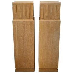 Pair of Art Deco Style Cerused Oak Pedestals