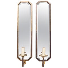 Pair of Art Deco Style Chapman Mirror Panel Brass Electric Wall Sconces, 1970s