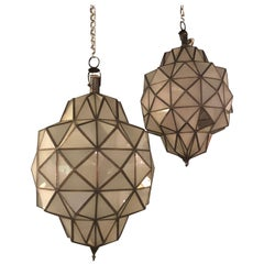 Pair of Art Deco Style Dome Form Milk Glass  White Chandeliers or Lanterns