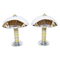 Pair of Art Deco Style Dome Lamps with Yellow Bakelite Stem and Chrome Shade