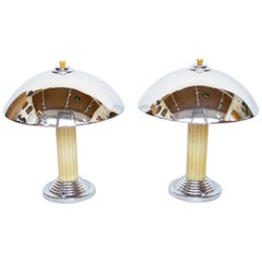 Pair of Art Deco Style Dome Lamps, Yellow Bakelite and Chromed Metal