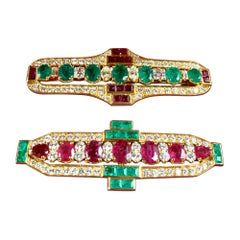 Pair of Art Deco Style Emerald, Diamond and Ruby Brooches