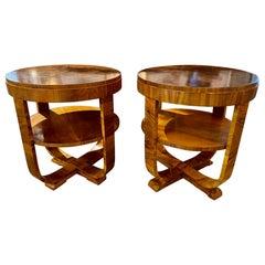 Pair of Art Deco Style Exotic Black Walnut Veneer Side Tables