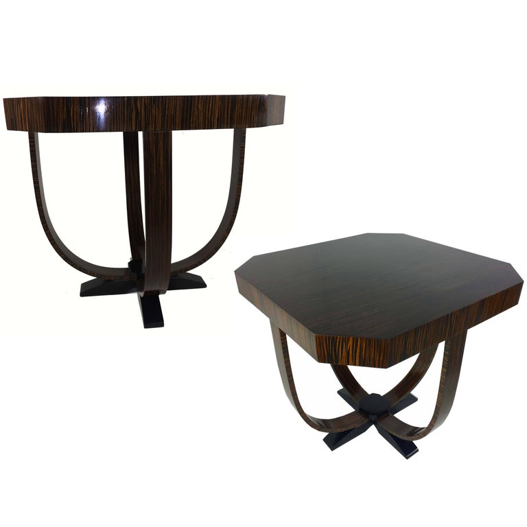 Pair of Art Deco Style Exotic Macassar Ebony, Budapest, 1950s For Sale
