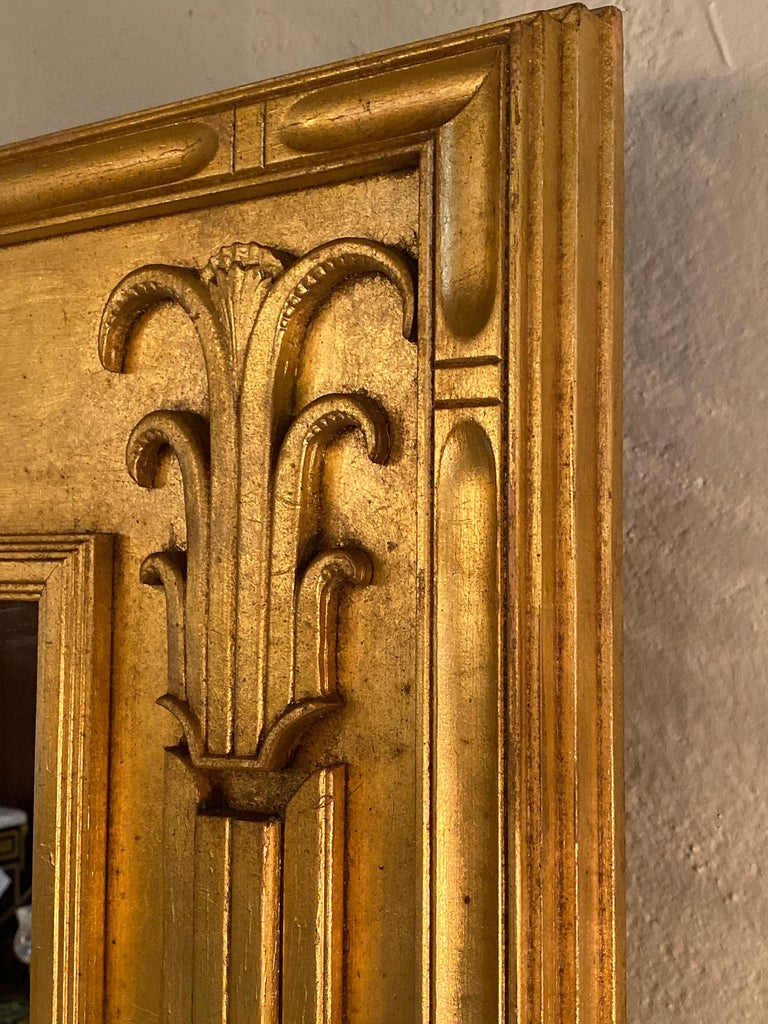 Pair of Art Deco Style Gilt Gold Architecturally Carved Wall or Console Mirrors For Sale 6
