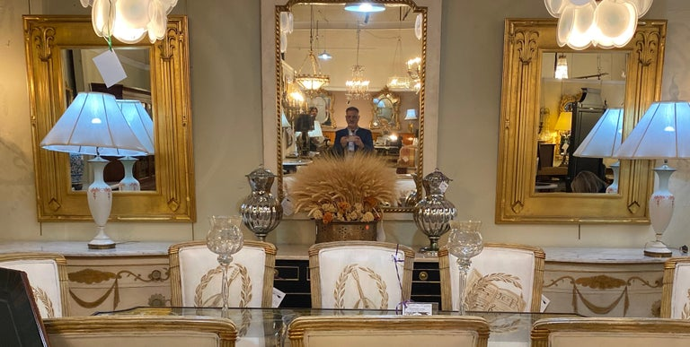 Pair of Art Deco Style Gilt Gold Architecturally Carved Wall or Console Mirrors For Sale 9