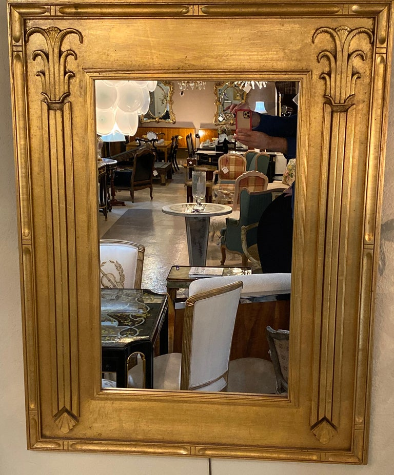 Pair of Art Deco Style Gilt Gold Architecturally Carved Wall or Console Mirrors In Good Condition For Sale In Stamford, CT