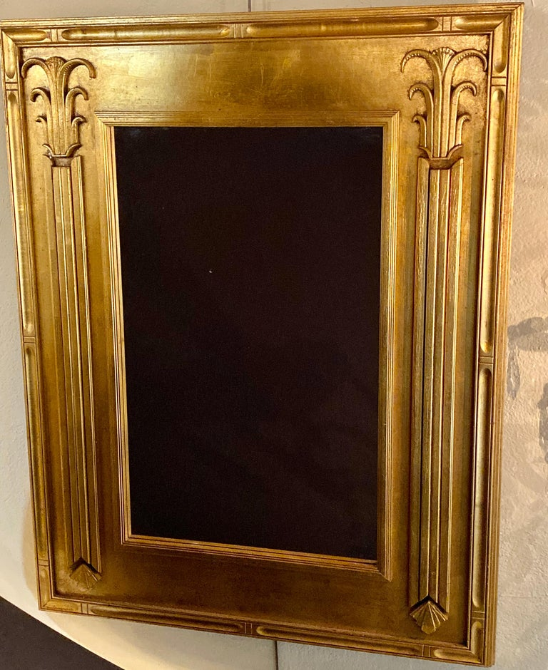 Pair of Art Deco Style Gilt Gold Architecturally Carved Wall or Console Mirrors For Sale 1