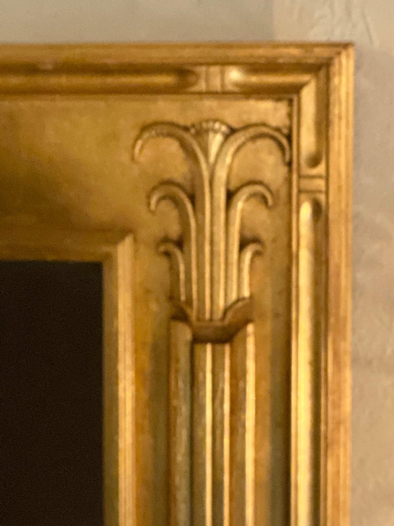 Pair of Art Deco Style Gilt Gold Architecturally Carved Wall or Console Mirrors For Sale 2