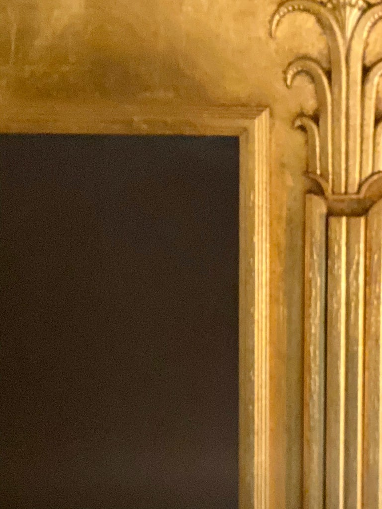 Pair of Art Deco Style Gilt Gold Architecturally Carved Wall or Console Mirrors For Sale 3
