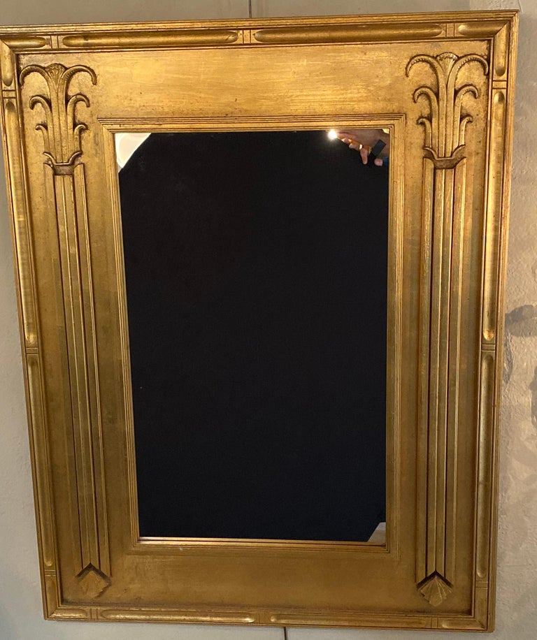 Pair of Art Deco Style Gilt Gold Architecturally Carved Wall or Console Mirrors For Sale 5