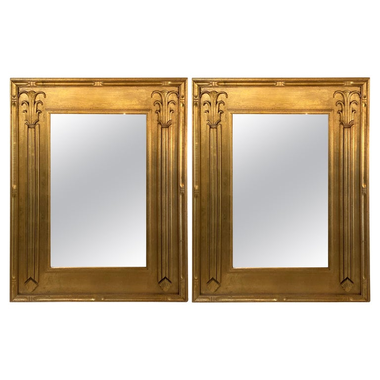 Pair of Art Deco Style Gilt Gold Architecturally Carved Wall or Console Mirrors For Sale