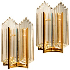 Pair of Art Deco Style Glass and Brass Wall Sconces, 1960s