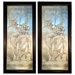 Pair of Art Deco Style Glass Etched Silvered Wall Decorations / Mirrors