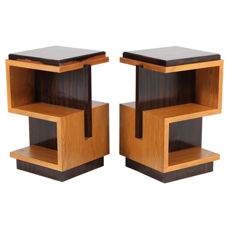 Pair of Art Deco Style Haagse School Style Side Tables, 2020 For Sale