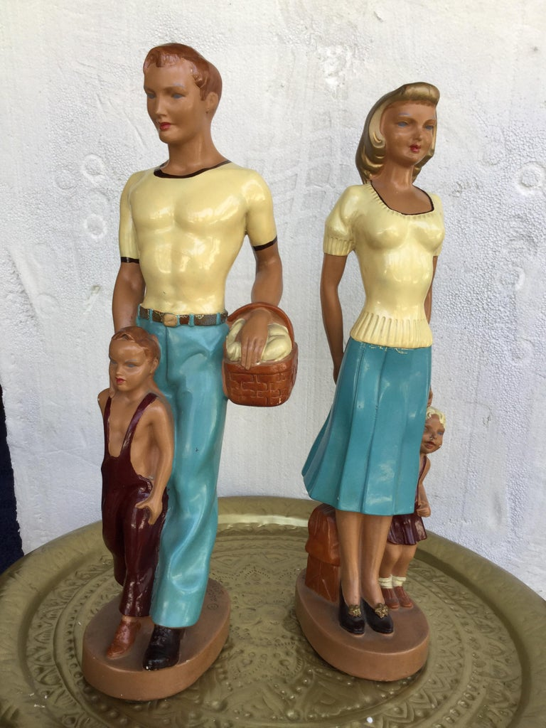 Mid-20th Century Pair of Art Deco Style Hand Painted Figurines of Couple with Their Children For Sale